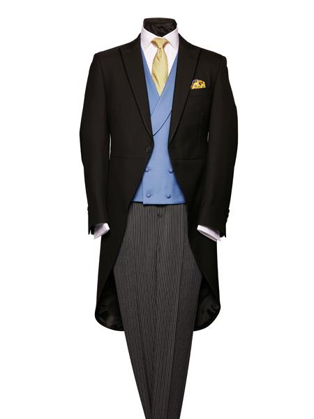 Edwardian Men's Formal Wear Herringbone Light Weight Black Wool With Silk Piping Morning Coat $586.00 AT vintagedancer.com