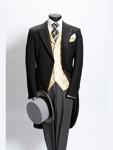 Men's Vintage Style Suits, Classic Suits Light Weight Plain Black Morning Coat Wool With Grey Stripe Pant $586.00 AT vintagedancer.com
