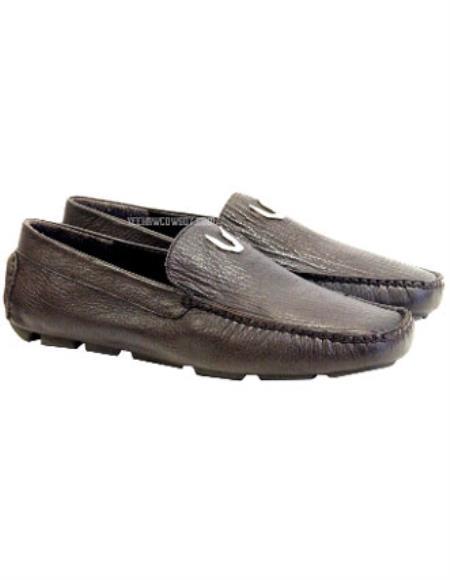Vestigium Genuine Sharkskin Loafers Full Leather Lining Brown
