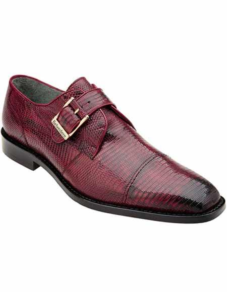 Men's Genuine Belvedere Lizard Skin Burgundy Monk Strap Style Leather Shoes