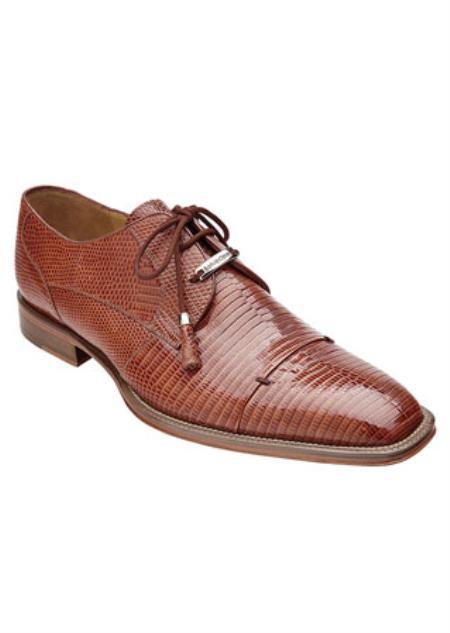 Men's Belvedere Full Lizard Skin Exotic Honey Brown Shoes