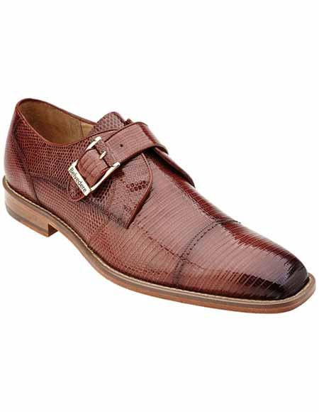 Men's Belvedere Peanut/Tan Lizard Skin Leather Genuine Monk Strap Style Shoes