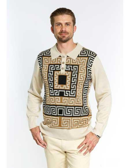 1536dfd640 Men s 3 Button Long Sleeve Front Cream Color Sweater