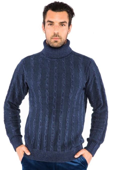 Long Sleeve Turtle Neck Navy Cable Knit Sweater
