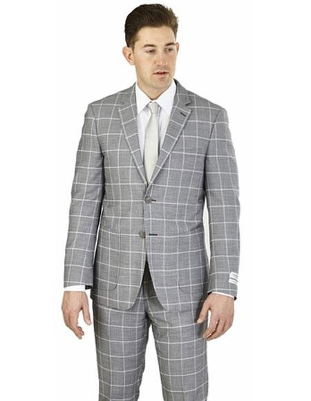Lorenzo Bruno Gray 2 Buttons Plaid Pattern Modern Fit Suit