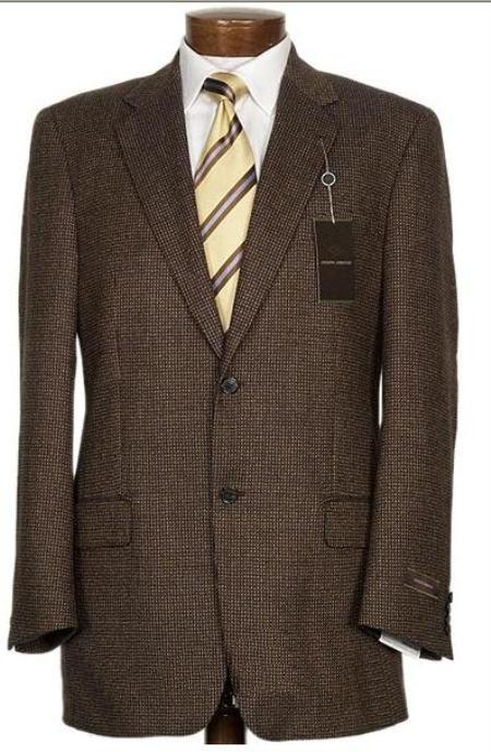 brown mens two button suit pattern pindot teakweave nailhead