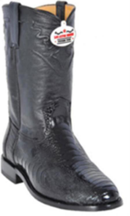 Authentic Los altos Genuine Dark color black Ostrich Leg western Riding Style Boot