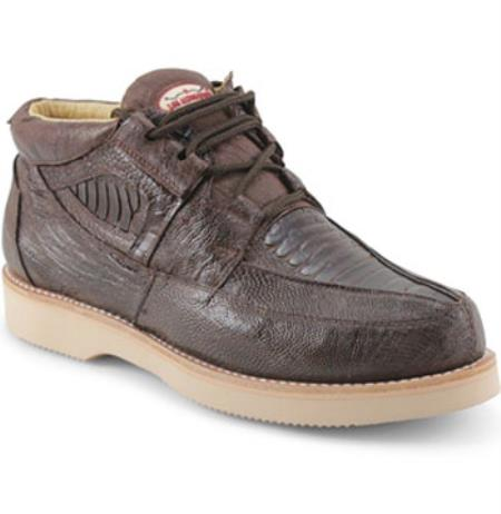 Authentic Los altos Genuine Ostrich Leg Four Eyelet Lacing Coco Chocolate brown Shoes for Men