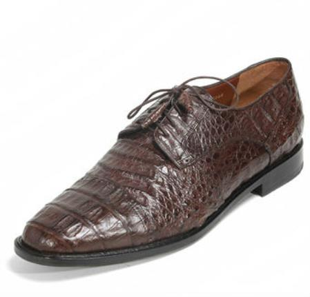 Authentic Los altos Genuine Caiman skin Belly Five Eyelet Laces Coco Chocolate brown Shoes for Men