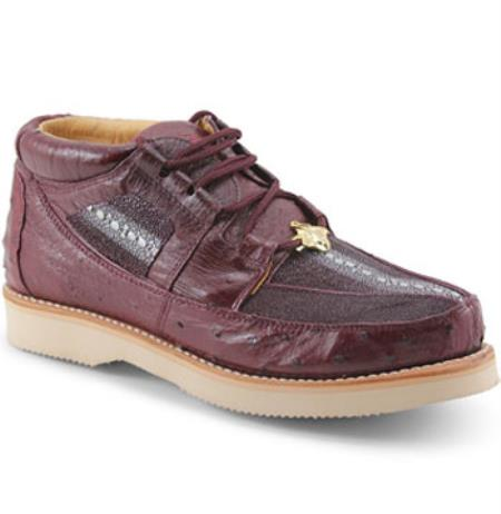 Authentic Los altos Genuine mantarraya stingray & Ostrich Four Eyelet Lacing Burgundy Shoes for Men