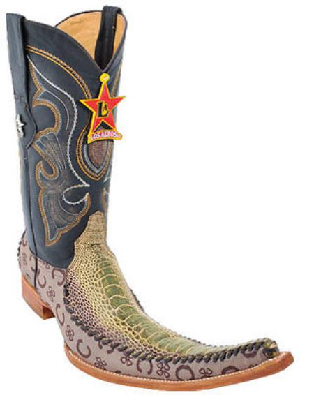 western Boots Authentic Los altos Genuine Ostrich Leg Fashion Rustic Green