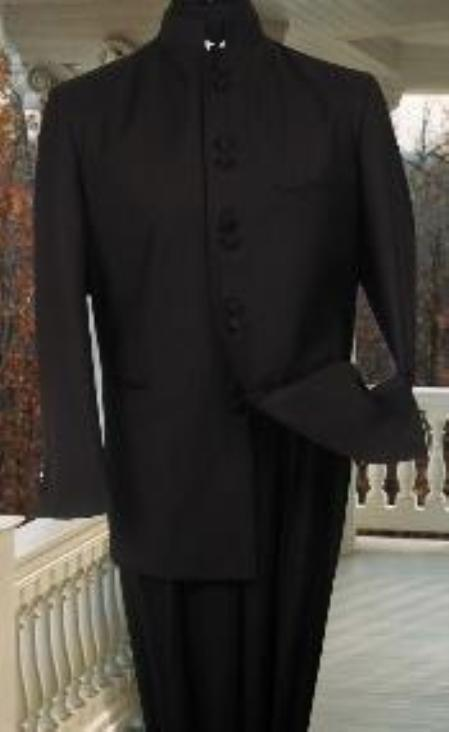42 Jacket//36 Trouser Silver Lining Mens Black Nehru Grandad Collar Suit Ideal for Weddings