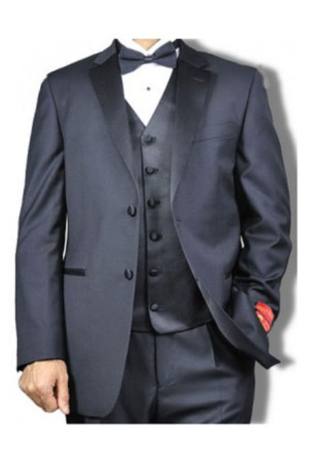 Mantoni Notch Collared Vested Two buttons Tuxedo Dark color black - High End Suits - High Quality Suits