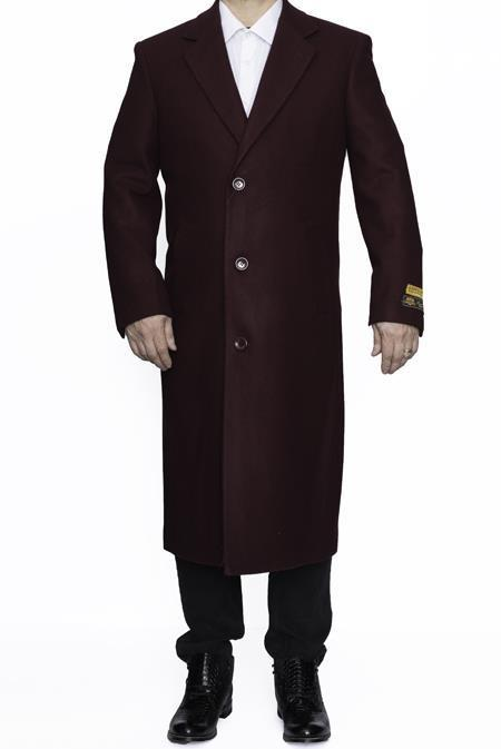 Long men's Dress Topcoat - Winter coat 4XL 5XL 6XL Burgundy ~ Wine ~ Maroon Big and Tall Large Man ~ Plus Size Three Button Overcoat