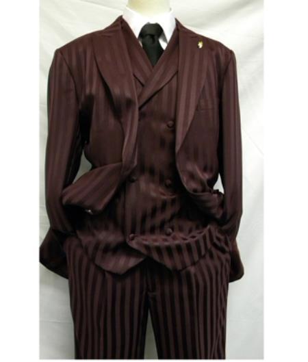 Men Burgundy Shiny Suits