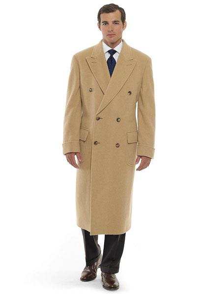 1920s Men's Clothing Camel  Khaki  Beige  Tan Double Breasted Cashmere And Wool fabric overcoats for men Topcoat $255.00 AT vintagedancer.com