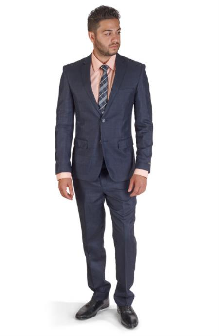 Inexpensive ~ Cheap ~ Discounted Clearance Sale Prom Two buttons Extra Slim Fit Suit - Dark Blue Suit Color