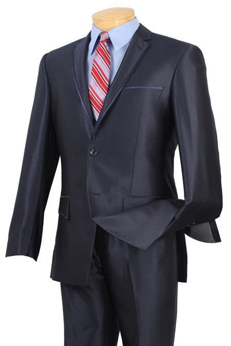 Men Shiny Blue Suits