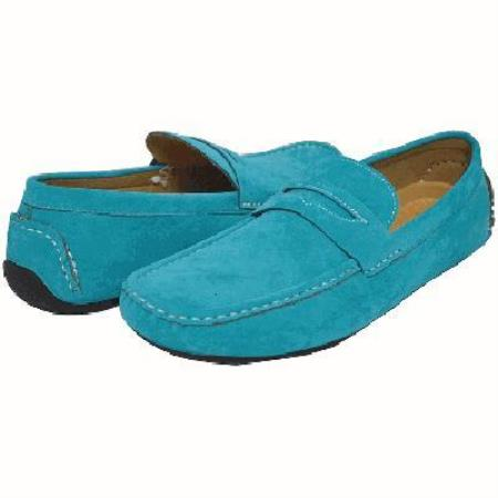 Two Tone Turquoise Driving Shoes for Men-