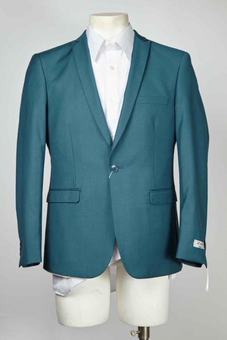 ID#SM632 One Button  Centre Vent Peak Collared Best Cheap Blazer For Affordable Cheap Priced Unique Fancy For Men Available Big Sizes on sale Men Affordable Sport Coats Sale Jacket Teal