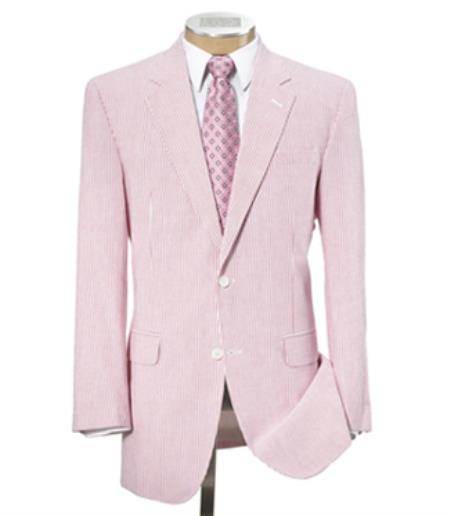 Men's Vintage Style Suits, Classic Suits 2-Button Summer seersucker Pattern Pink Suit $150.00 AT vintagedancer.com