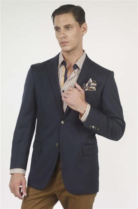 Authentic Mantoni Brand Basic Solid Plain Two buttons Wool fabric With brass buttons Jacket Best Cheap Blazer For Affordable Cheap Priced Unique Fancy Big Sizes Sport Coats Sale Navy - High End Suits - High Quality Suits