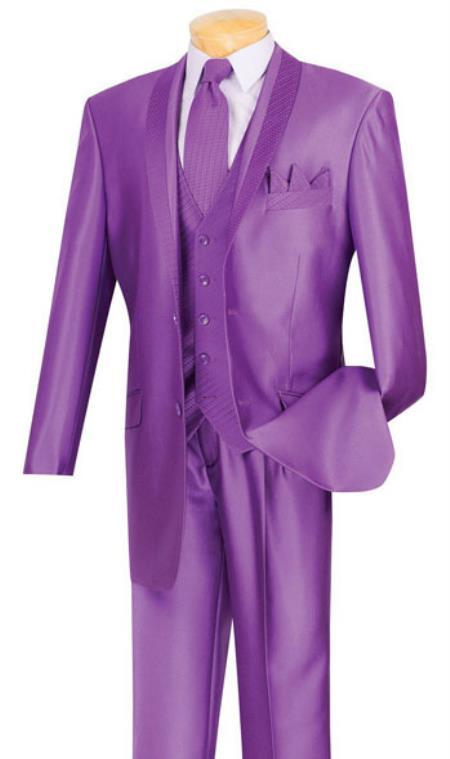 Mens 2 Buttons Purple Suit