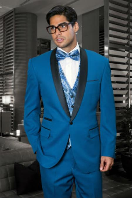 3 Piece Shawl Collar and Double Vented Teal Tuxedo