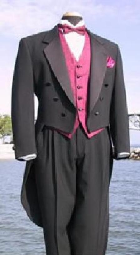 1920s Fashion for Men Dark color black or White Classic Fashion Basic Full Dress Tuxedo Tailcoat with Notch Collar 6 Buttons Pleated creased Pants $140.00 AT vintagedancer.com