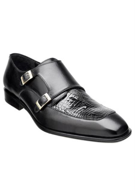 Men's Belvedere 2 Buckle Black Alligator Skin Top Shoes