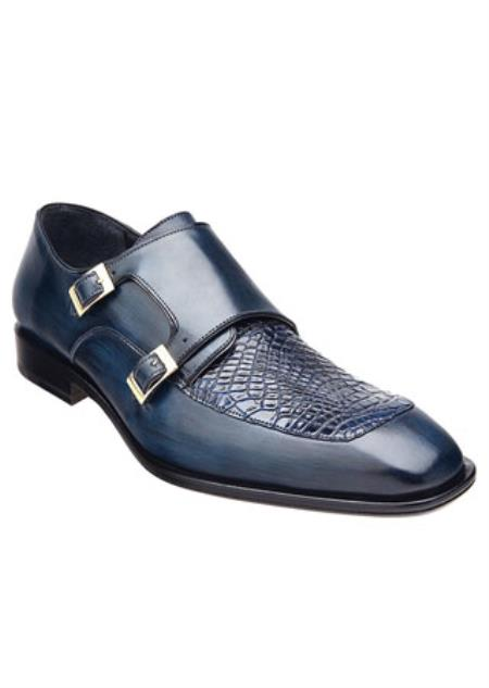 Men's Belvedere Alligator Skin Top 2 Buckle Shoes Blue