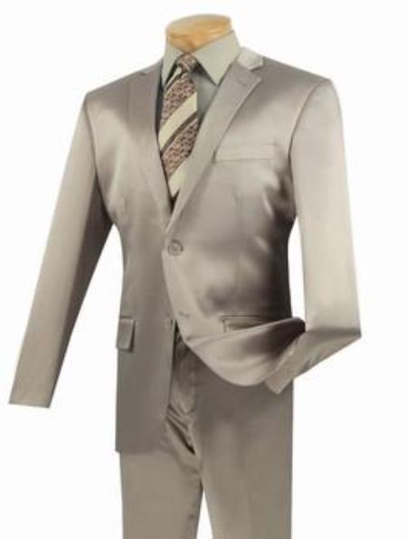 Mens Beige 2 Buttons Suit