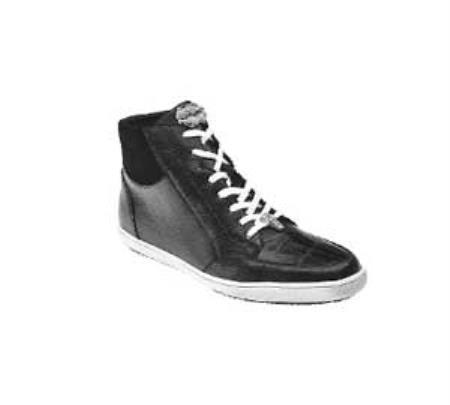 "Authentic Belvedere ""Franco"" Dark color black Genuine crocodile skin ~ Gator skin / Soft Calf Leather skin Sneakers"