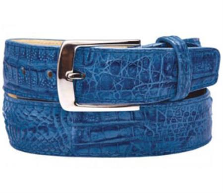 Belvedere Ciro Genuine crocodile skin Ocean Blue Belt
