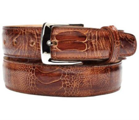 Belvedere Amico Genuine Ostrich Leg Brandy/Antique Coco Chocolate brown Belt