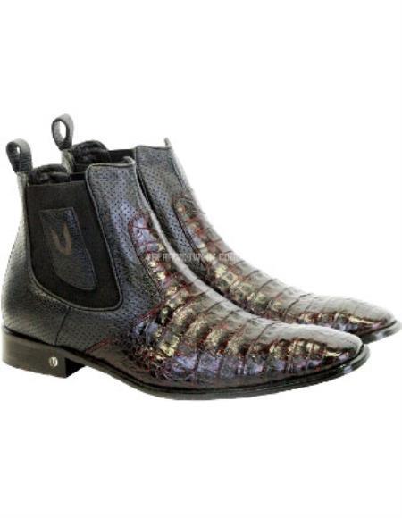 Vestigium Genuine Caiman Belly Chelsea Boots Black Cherry