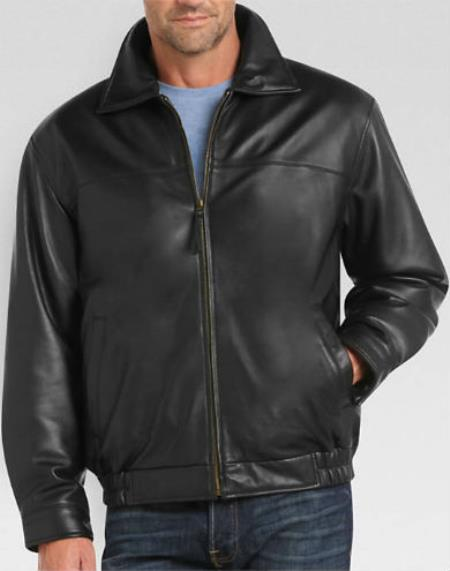 Full-Zip Closure Dark color black Lambskin Leather skin Classic Fit - Big and Tall Bomber Jacket