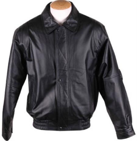 Zip-Out Liner Classic Leather skin - Big and Tall Bomber Jacket Dark color black