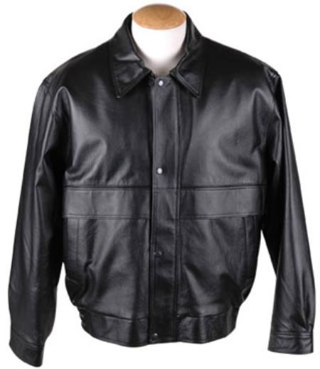Removable Liner & Button Leather skin - Big and Tall Bomber Jacket Dark color black