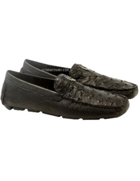 Vestigium Genuine Ostrich Full Leather Loafers Black