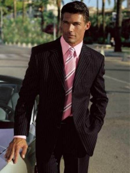 Mens Black Pinstripe Suit