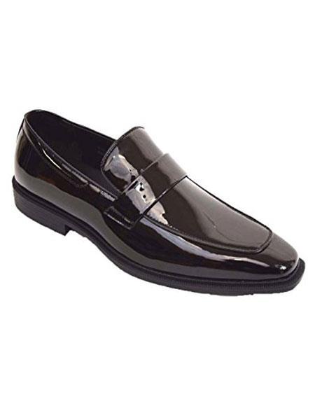 Tuxedo Black Shiny Dress Shoes Slip On Loafer