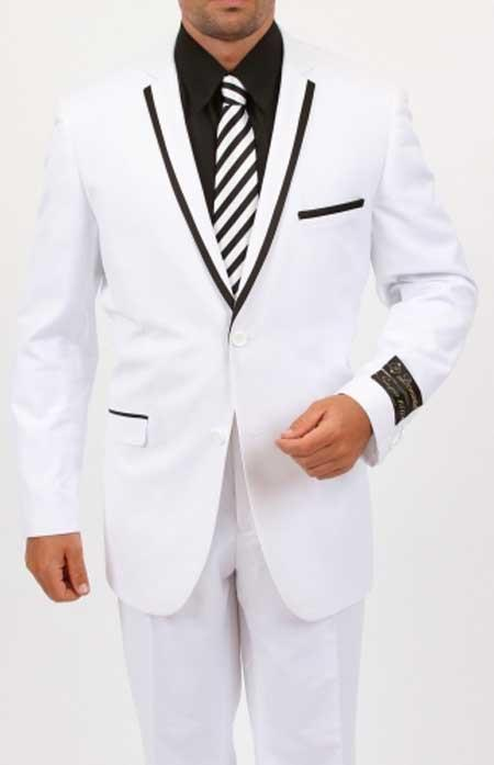 Dark color black Collared Two Toned Two Piece Slim Fit Suit - Satin Trimmed Collared White