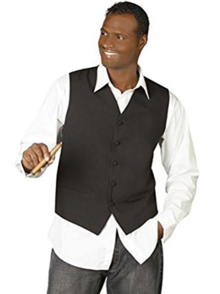 Men's Black V-Neck Tailored 5 Button Down Vest
