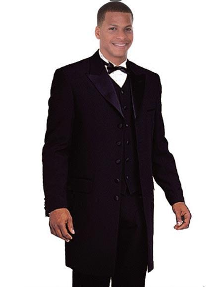 Victorian Men's Tuxedo, Tailcoats, Formalwear Guide Sateen Lapel Long Style Fashion Tuxedo Black Vested Zoot Suit Peak Lapel $161.00 AT vintagedancer.com