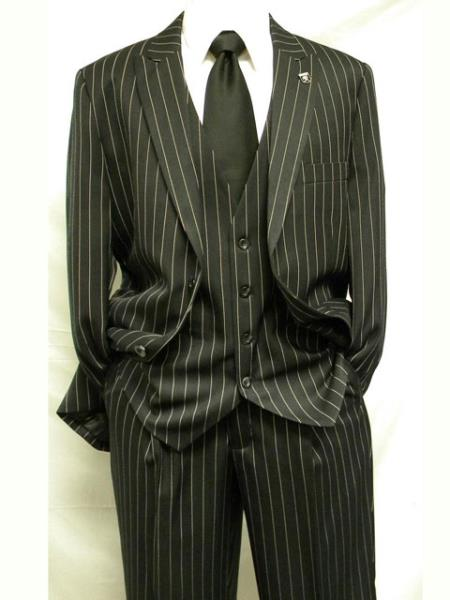 Dark color black Fashion 3 Piece Pinstripe Suit, Pleated cre