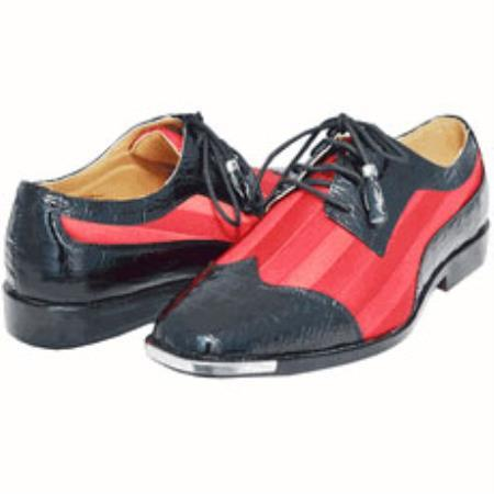 Red pastel color &amp- Dark color black Two Tone dress Shoes for Men