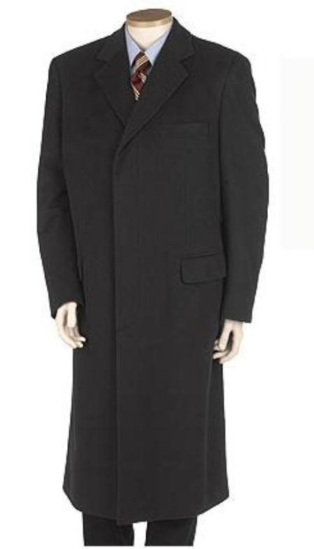 Men's Vintage Style Coats and Jackets LANZINO Full Length Basic Solid Plain Dark color black overcoats for men Wool fabric Blend Single Breasted Three buttons Fully Lined $200.00 AT vintagedancer.com