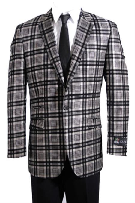 Men's Vintage Style Coats and Jackets Slim Fit Sport Coat Sportcoat Jacket Jacket Plaid  Window Pane Beige  Dark color black  Grey $151.00 AT vintagedancer.com