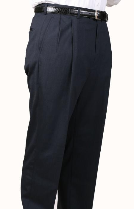 Char Blue Parker Pleated Creased Pants Lined Trousers